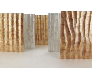 Wall tiles, wall panels, wallpapers and wall coverings from capiz shells